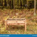 Raised Garden Bed On Legs Located In Forest Of Wisconsin During Stock Image Image Of Midwest Outdoor 128797649