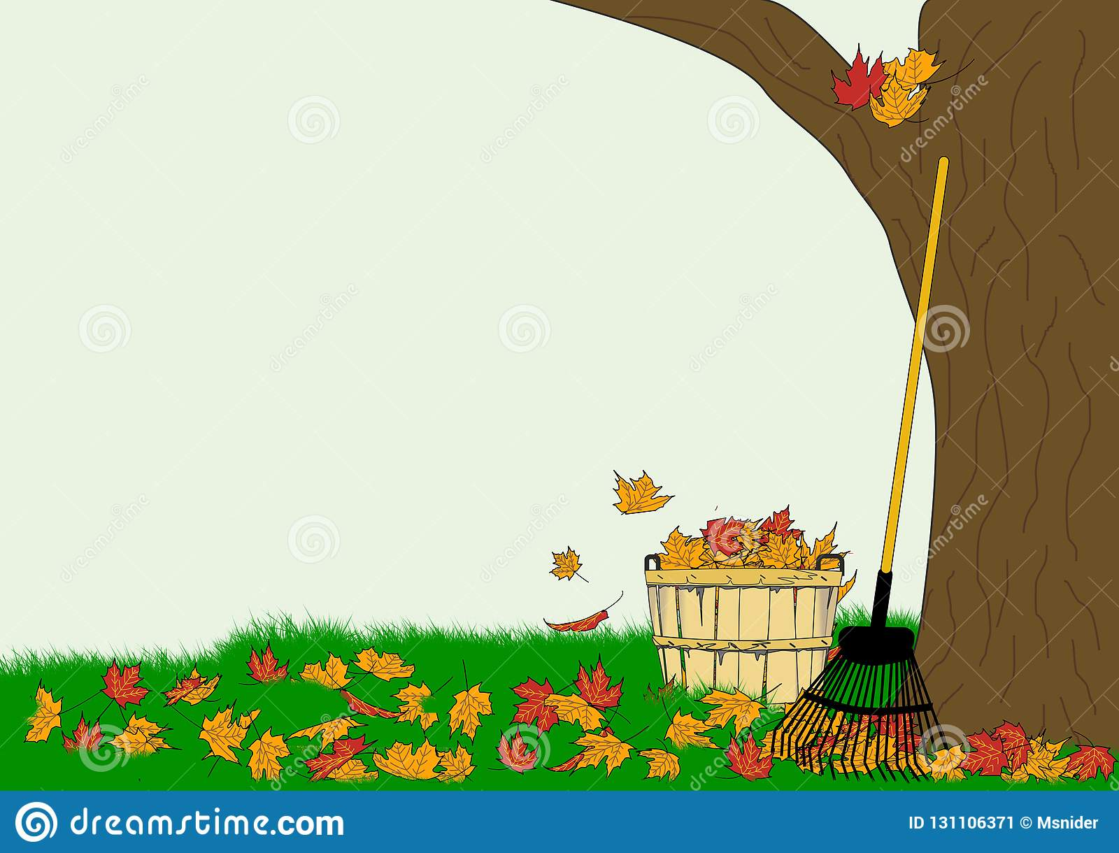 hight resolution of an illustration of a leaf rake and a bushel basket full of colorful autumn leaves on a background of a leaf strewn lawn and a large tree