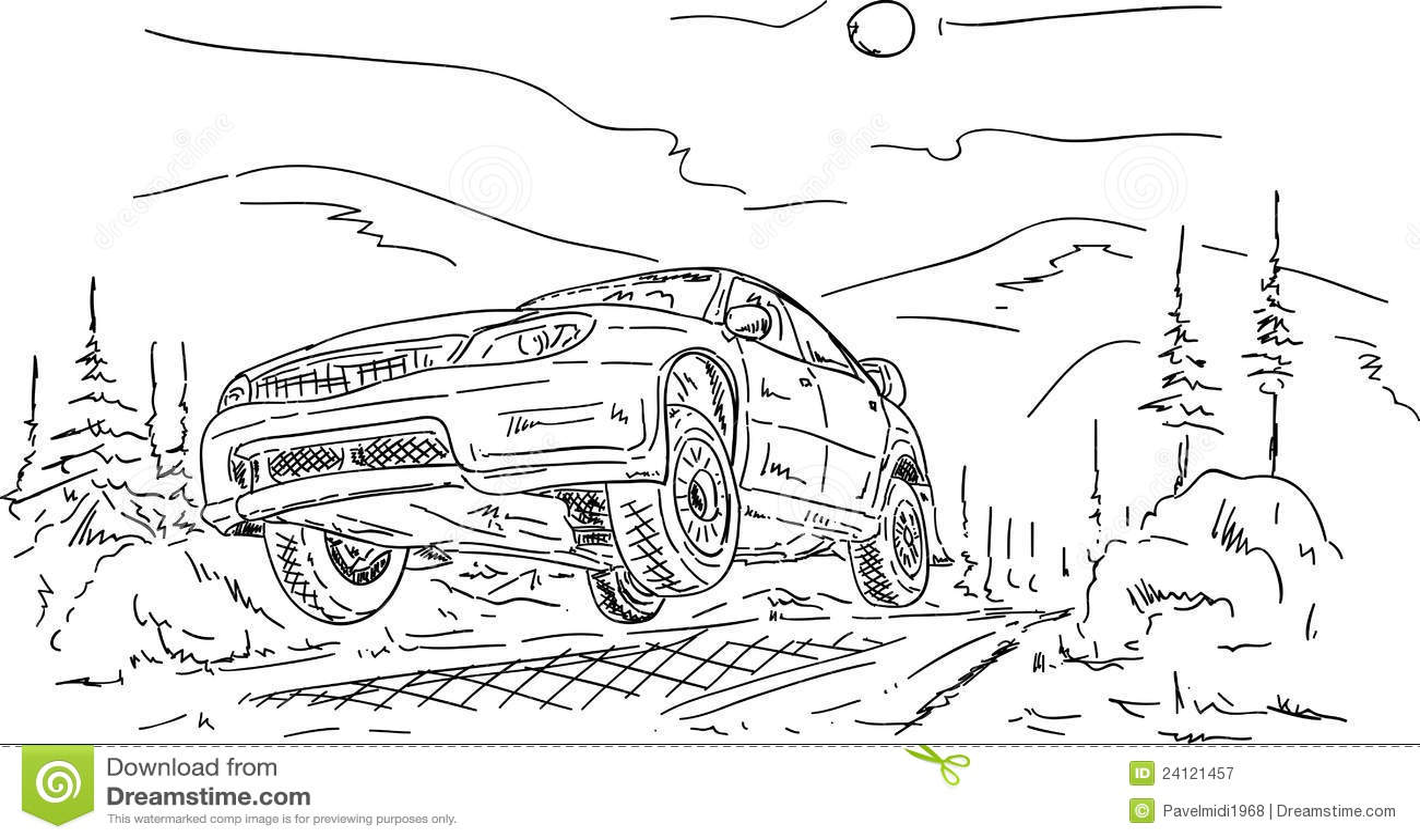 Rally car jumping stock vector. Illustration of