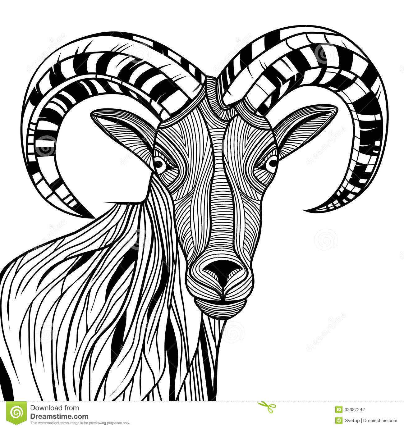 Ram Head Stock Vector Illustration Of Drawn Background