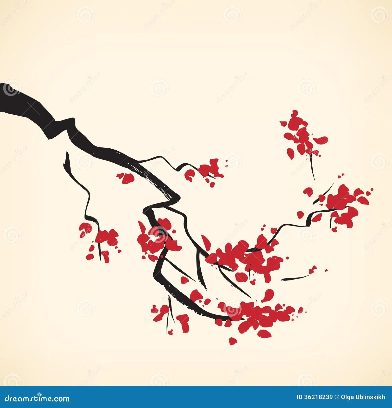 Chinese Calligraphy Wallpaper Hd Rama Del Cerezo Stock De Ilustraci 243 N Ilustraci 243 N De