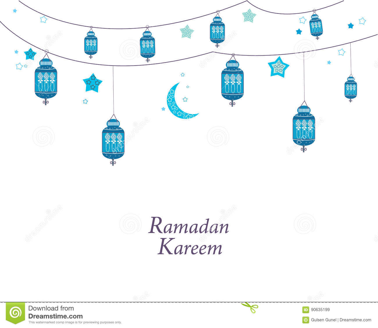 Ramadan Kareem With Blue Lamps Crescents And Stars