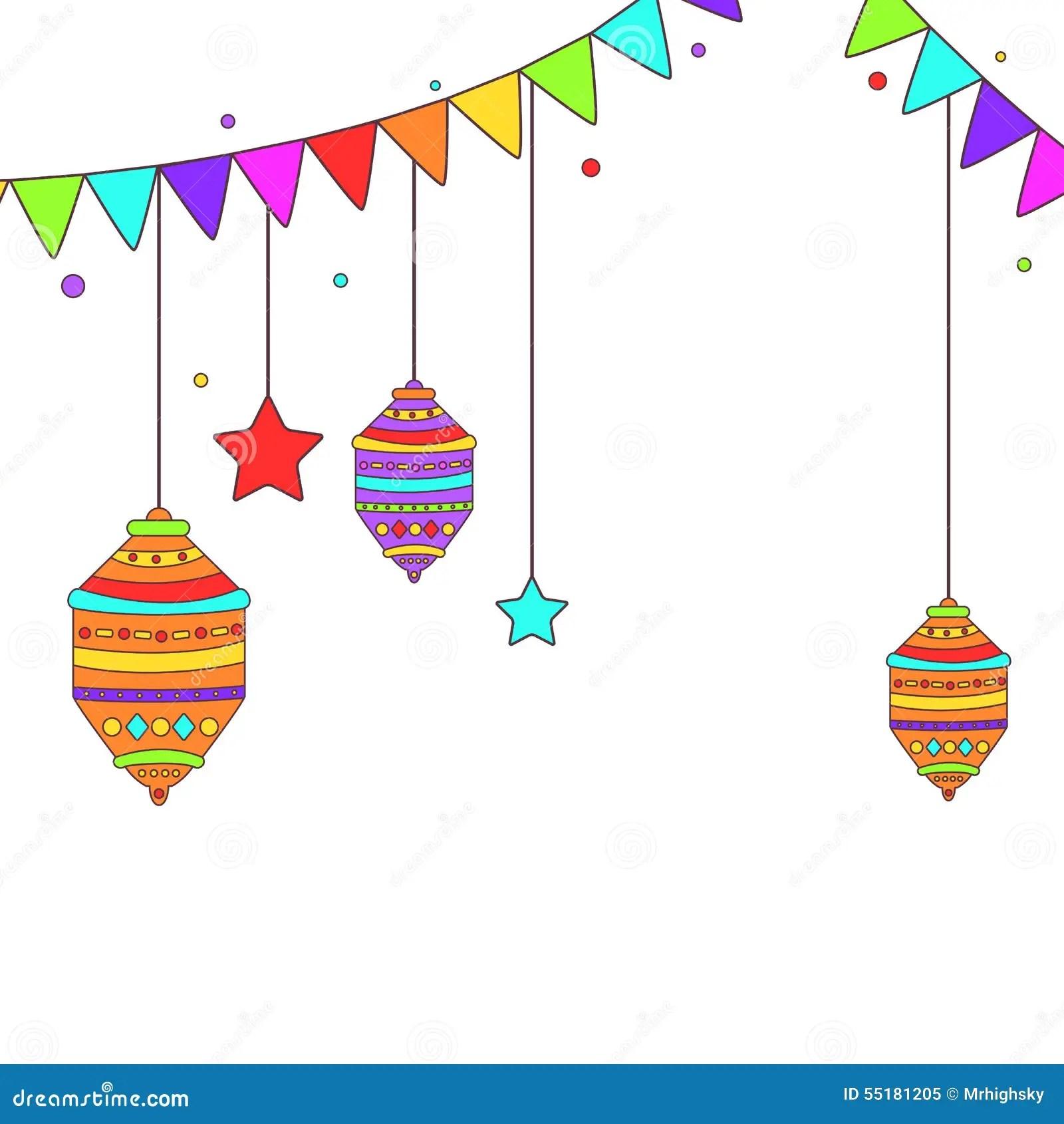 Ramadan Themed Buntings And Lamps Stock Vector