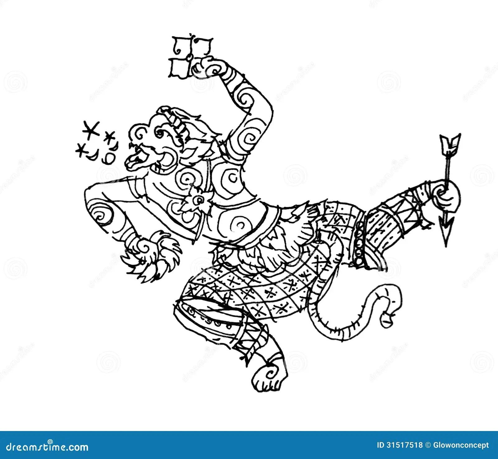 Ramayanaaap Hanuman Thaise Kunsttekening Stock