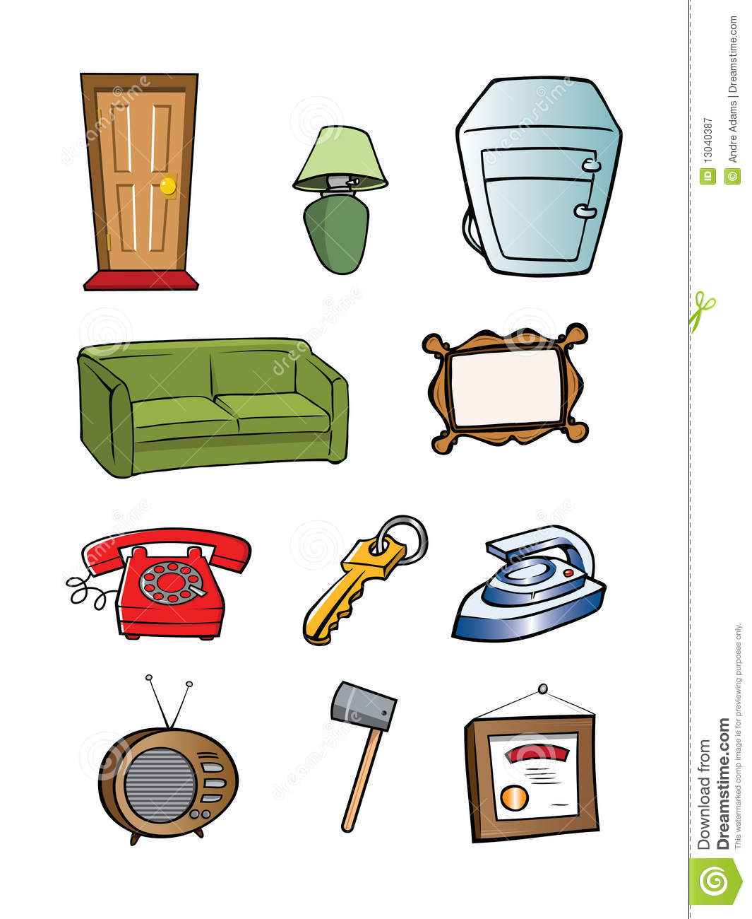 Random Household Objects Collection Royalty Free Stock