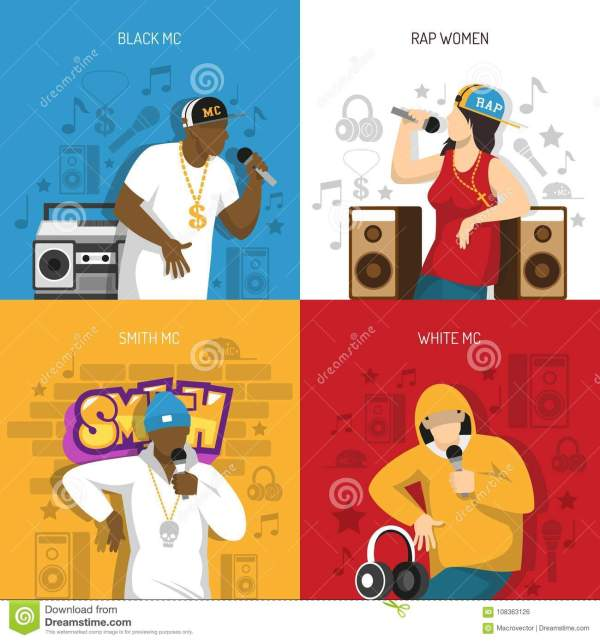 Rap Music Performers Concept Design Stock Vector - Year of