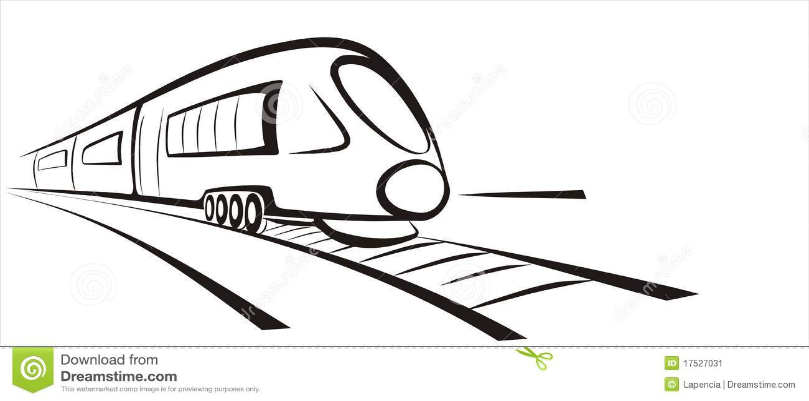 Rapid Train Sketch Stock Illustrations