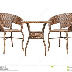 Rattan Table And Chairs Rustic Leather Coffee Set Royalty Free Stock Image