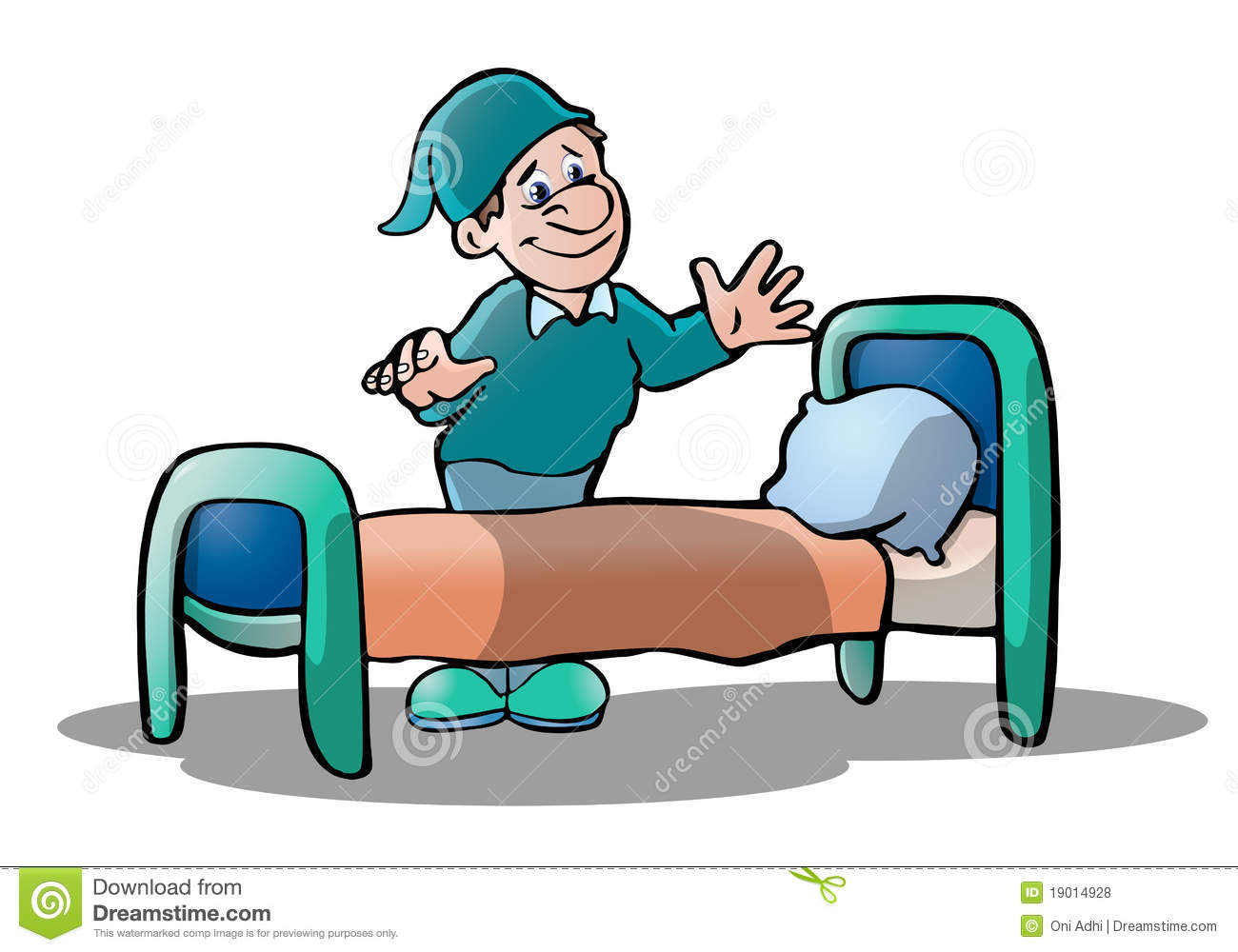 hight resolution of illustration of a man ready to sleep on his bed