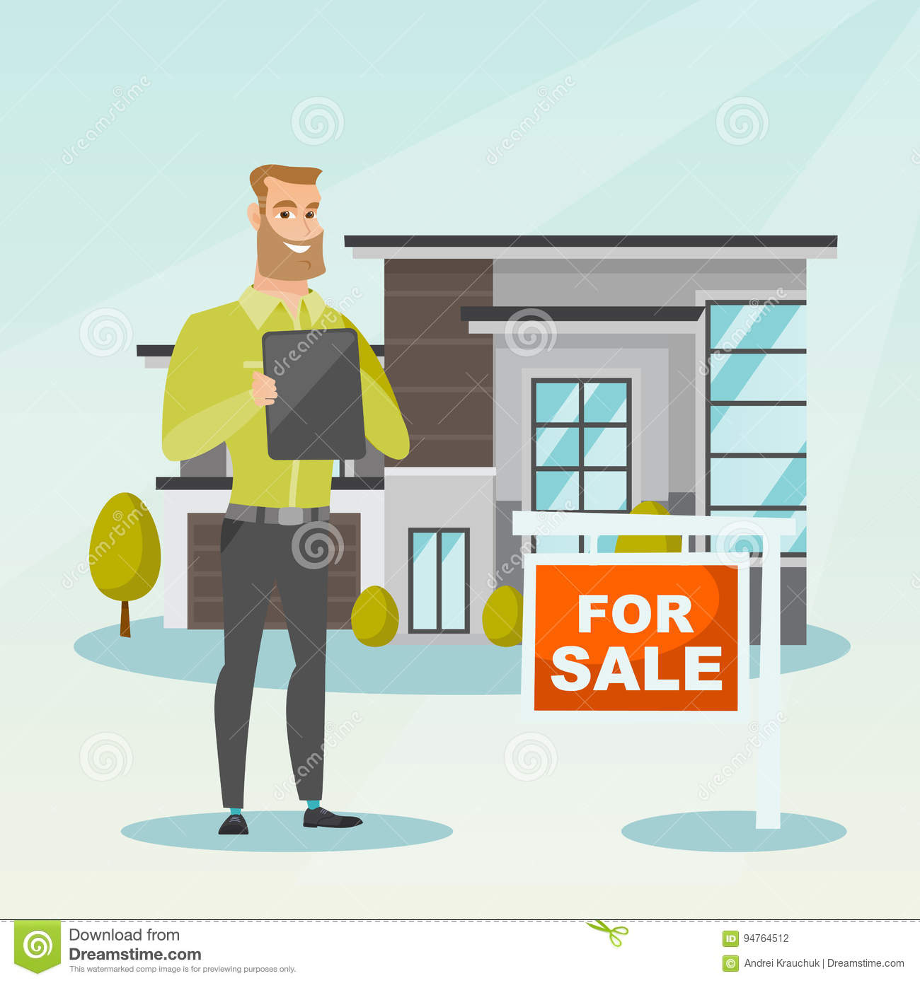Happy Real Estate Agent Signing Home Purchase Contract In Front Of House  For Sale. Real Estate Agent Standing In Front Of House With Placard For  Sale.