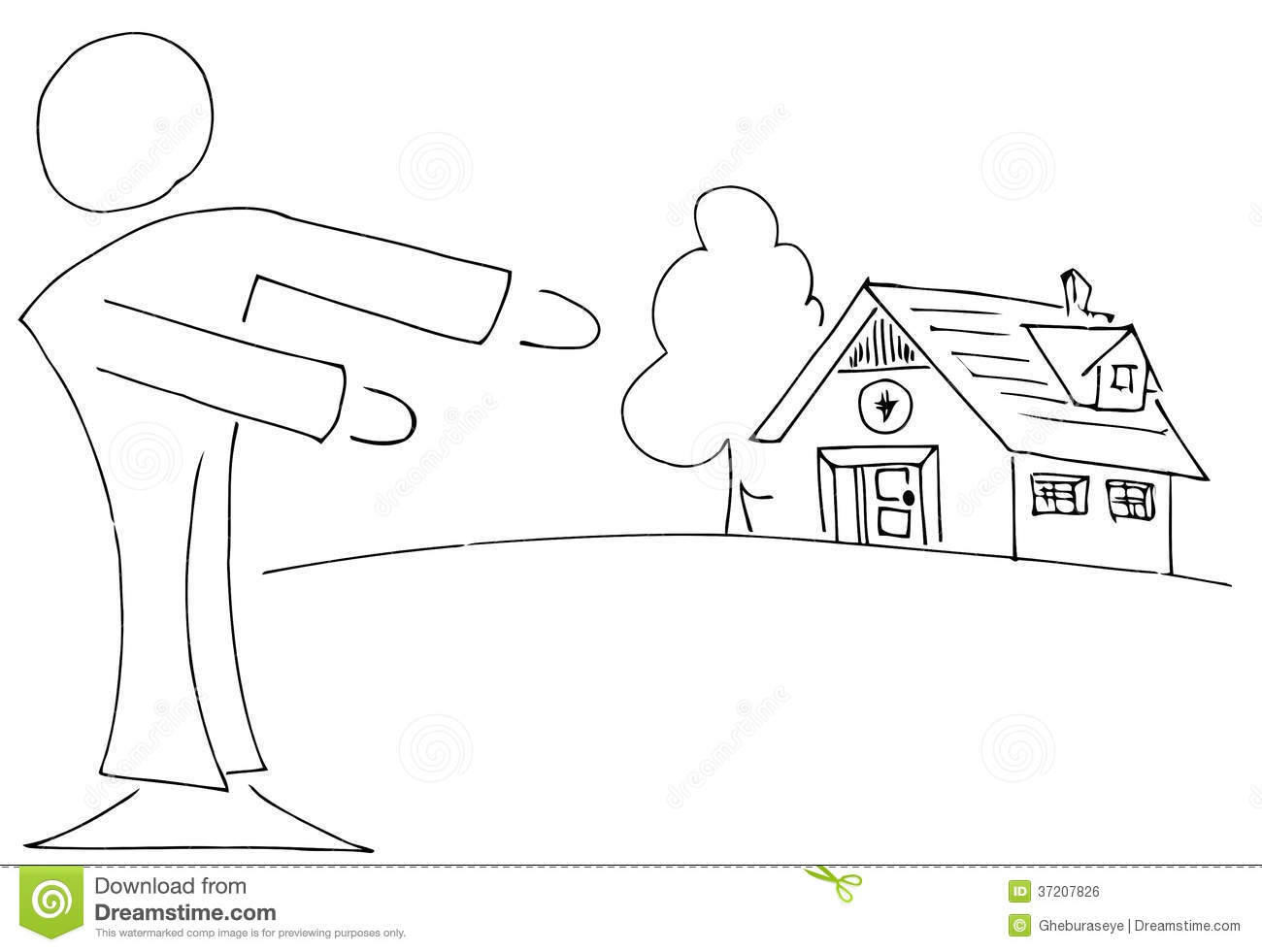 Stylized Real Estate Agent Showing A Home Stock