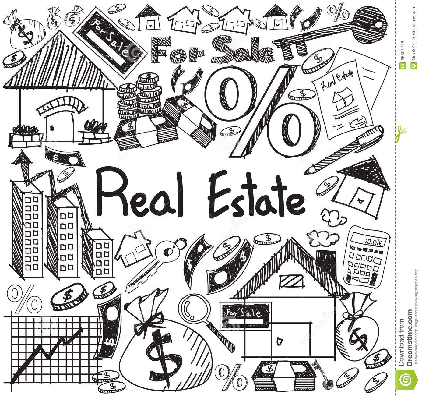 Real Estate Business Industry And Investment Handwriting