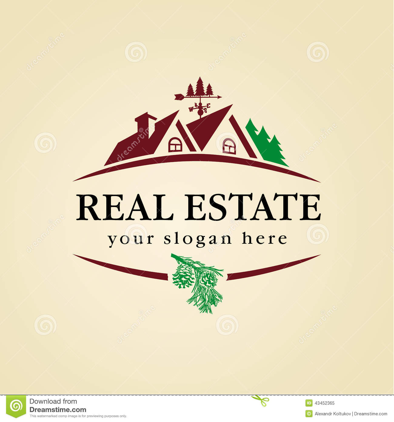 Real Estate Logo Wood Stock Vector Image 43452365