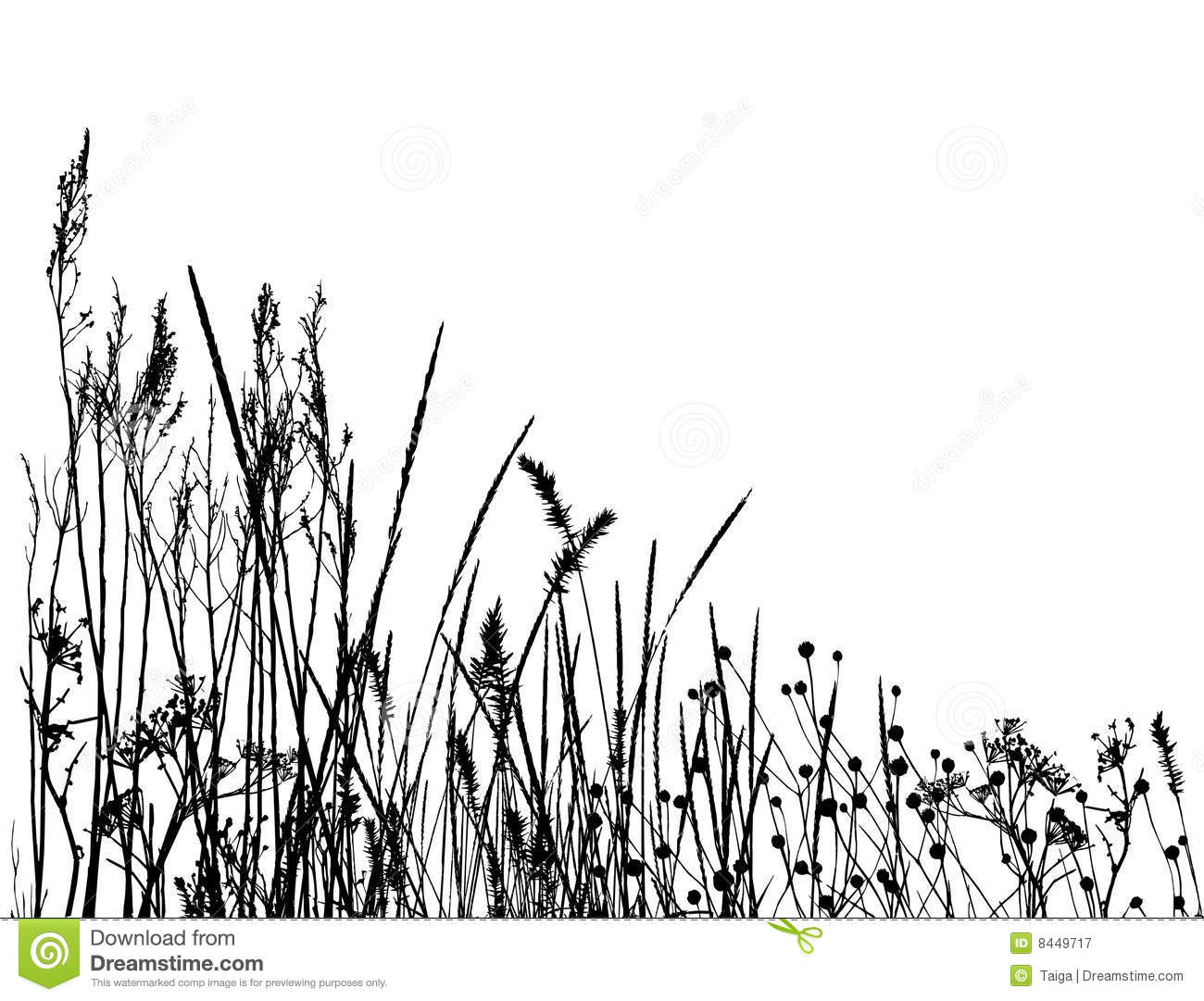 Real Grass Silhouette Vector Stock Vector