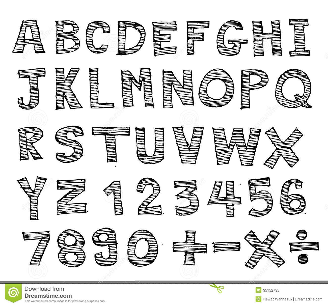 Real Hand Drawn Letters Font Written With A Pen Stock