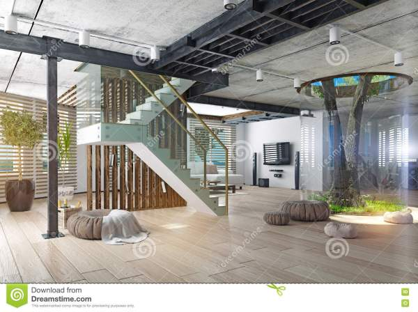 Real Living Tree Indoor Concept Stock Illustration