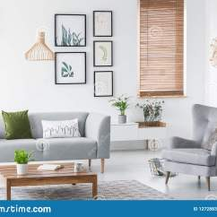 Sofa Art Gallery Gray Leather Real Photo Of A Cozy Living Room Interior With Green Pillow Armchair And Wooden Coffee Table Concept