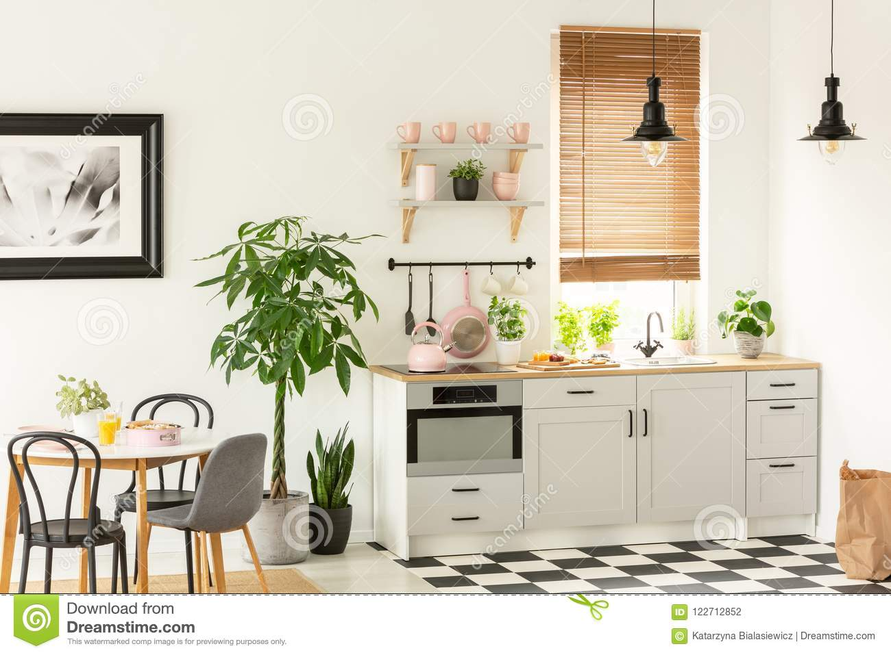 Modern Kitchen Chairs Real Photo Of A Modern Kitchen Interior With Cupboards Plants