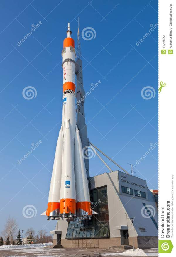 Real Soyuz Type Rocket Monument Editorial