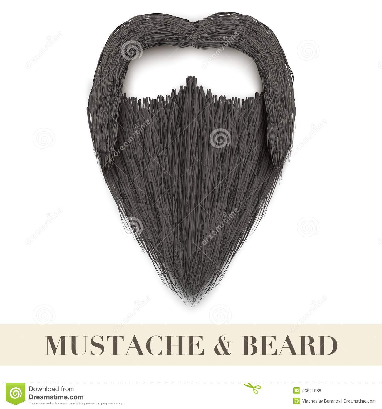 Realistic Black Beard With Curly Mustache Stock Vector