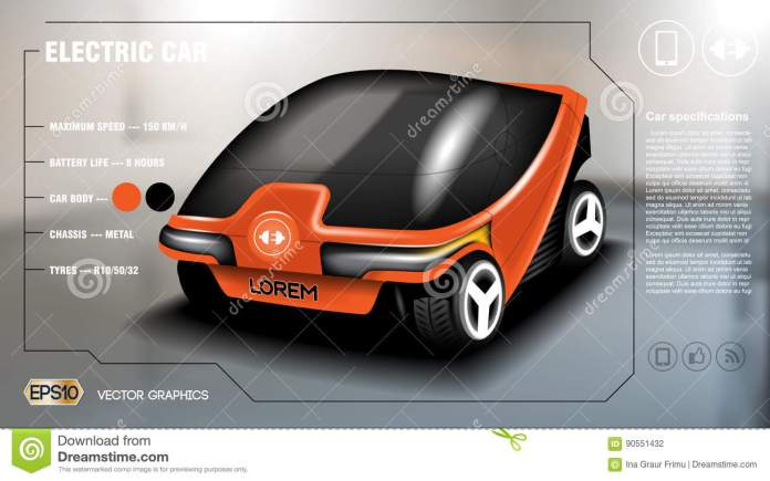 realistic 3d electric car info graphic concept. digital vector