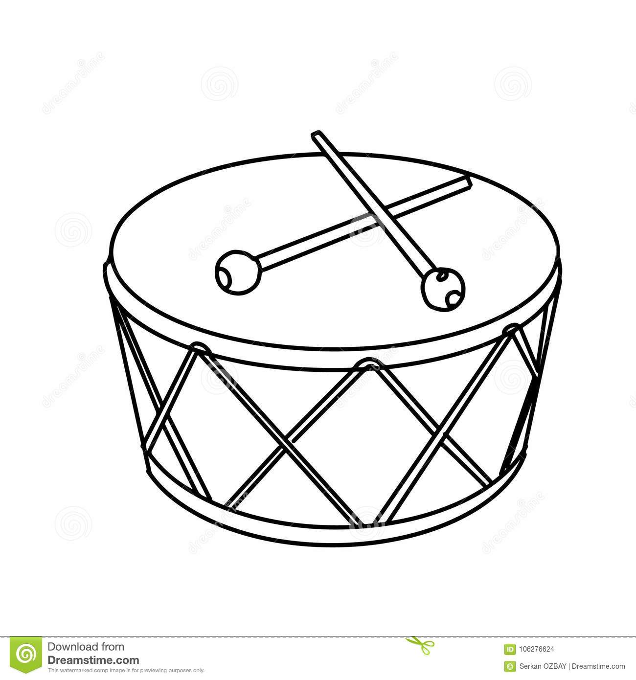 Realistic Drum Illusration Drawing Battery Coloring