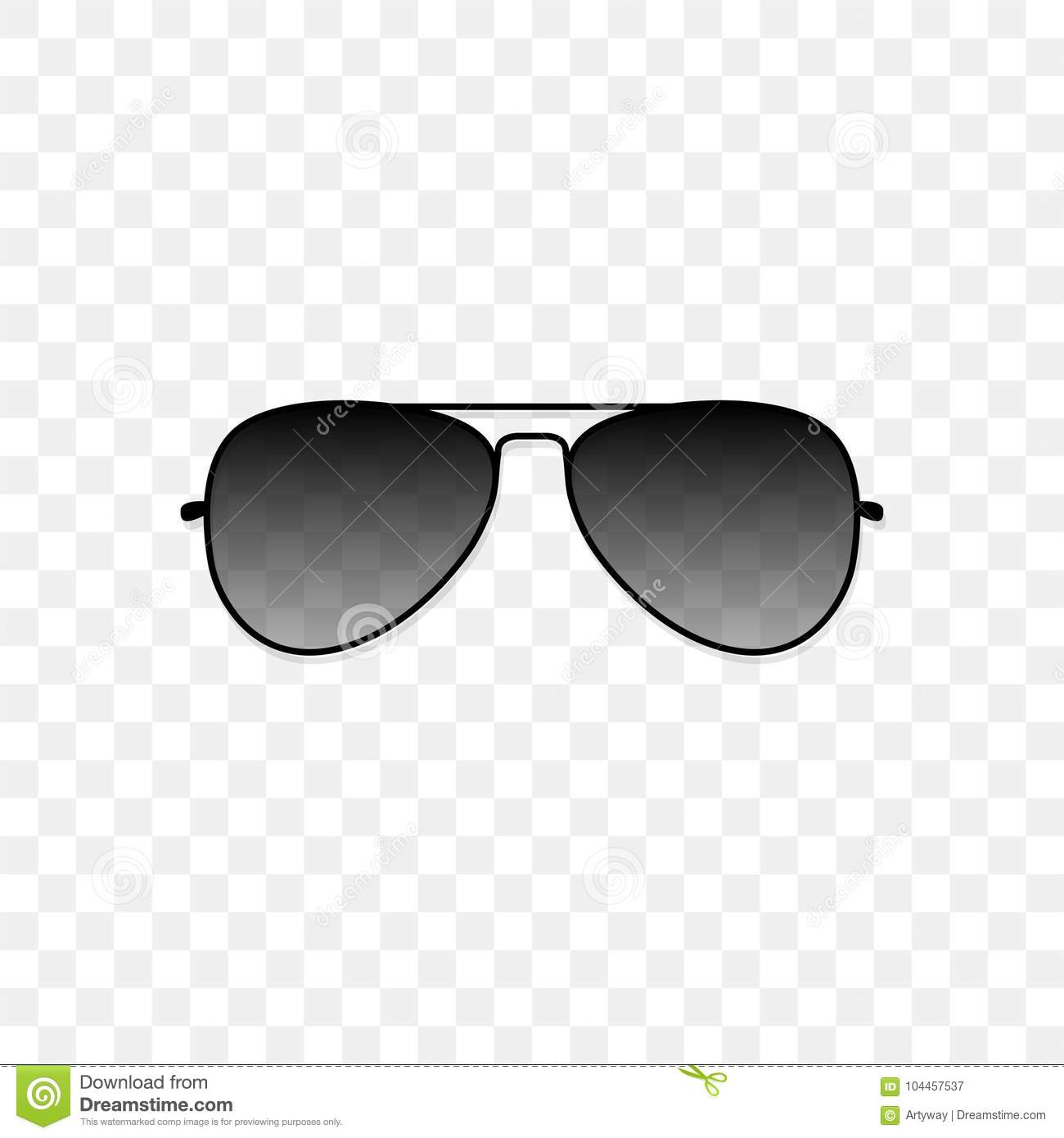 Realistic Sunglasses With A Translucent Black Glass On A