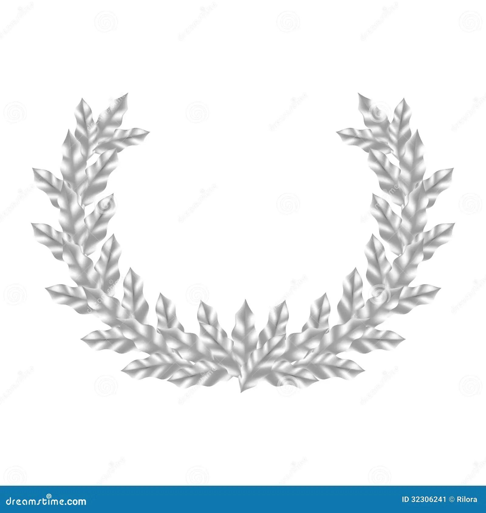 Realistischer Silberner Laurel Wreath Vektor Abbildung