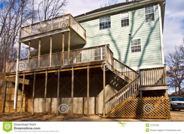 Rear Decks on a House stock image. Image of concrete ...