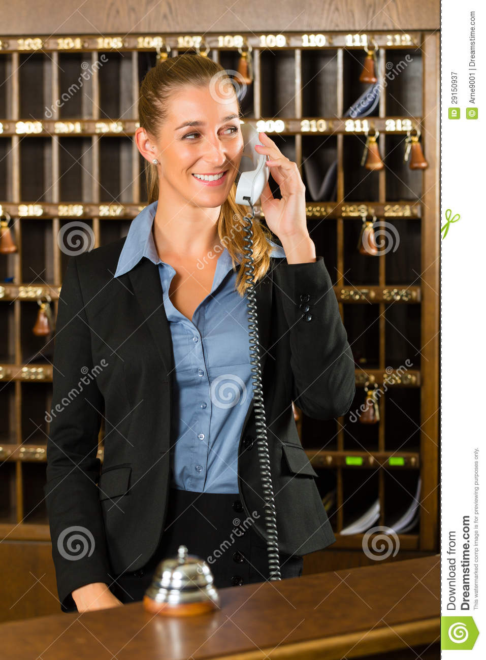 Reception Of Hotel  Desk Clerk Taking A Call Stock Image  Image of hotel friendly 29150937