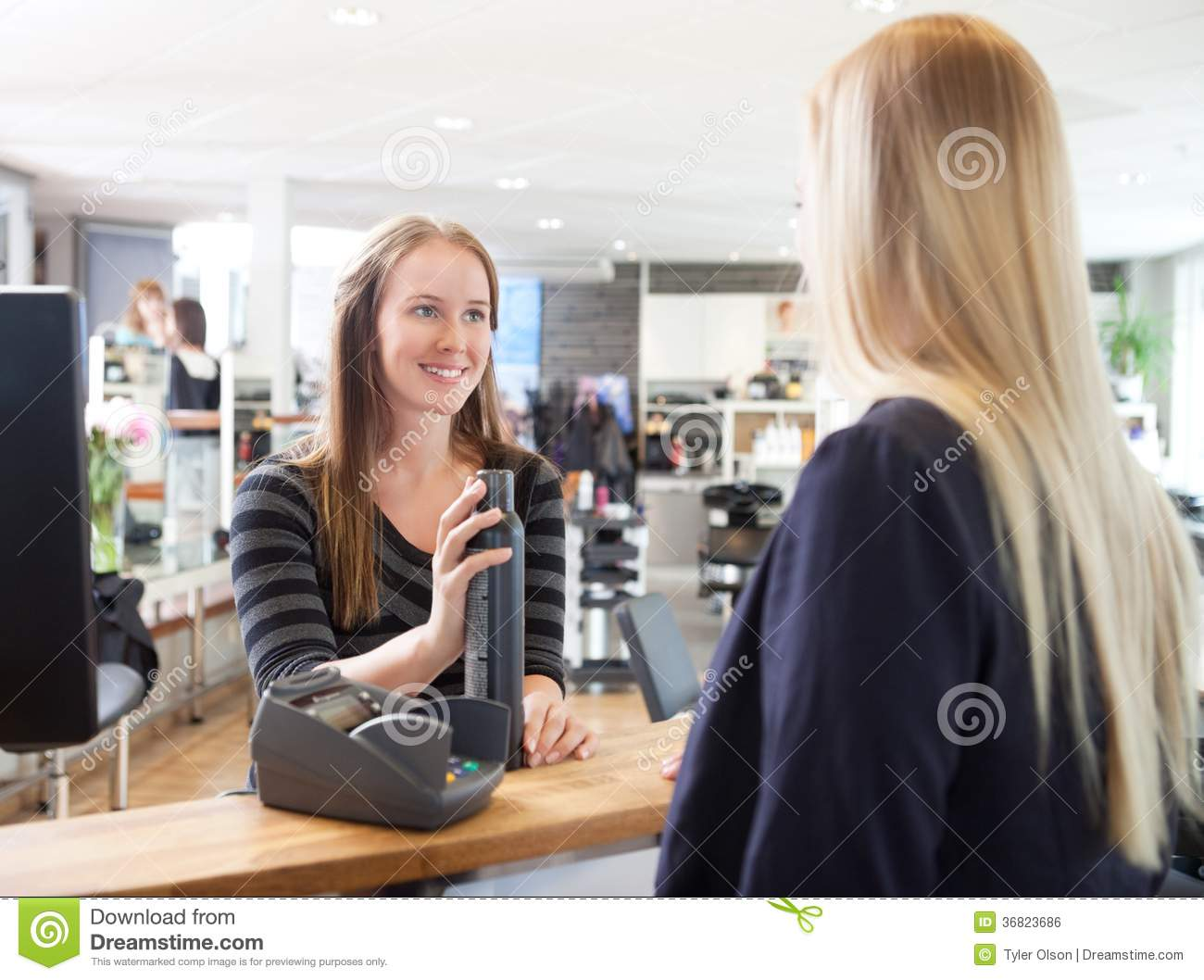 Receptionist And Client In Beauty Salon Royalty Free Stock Image  Image 36823686