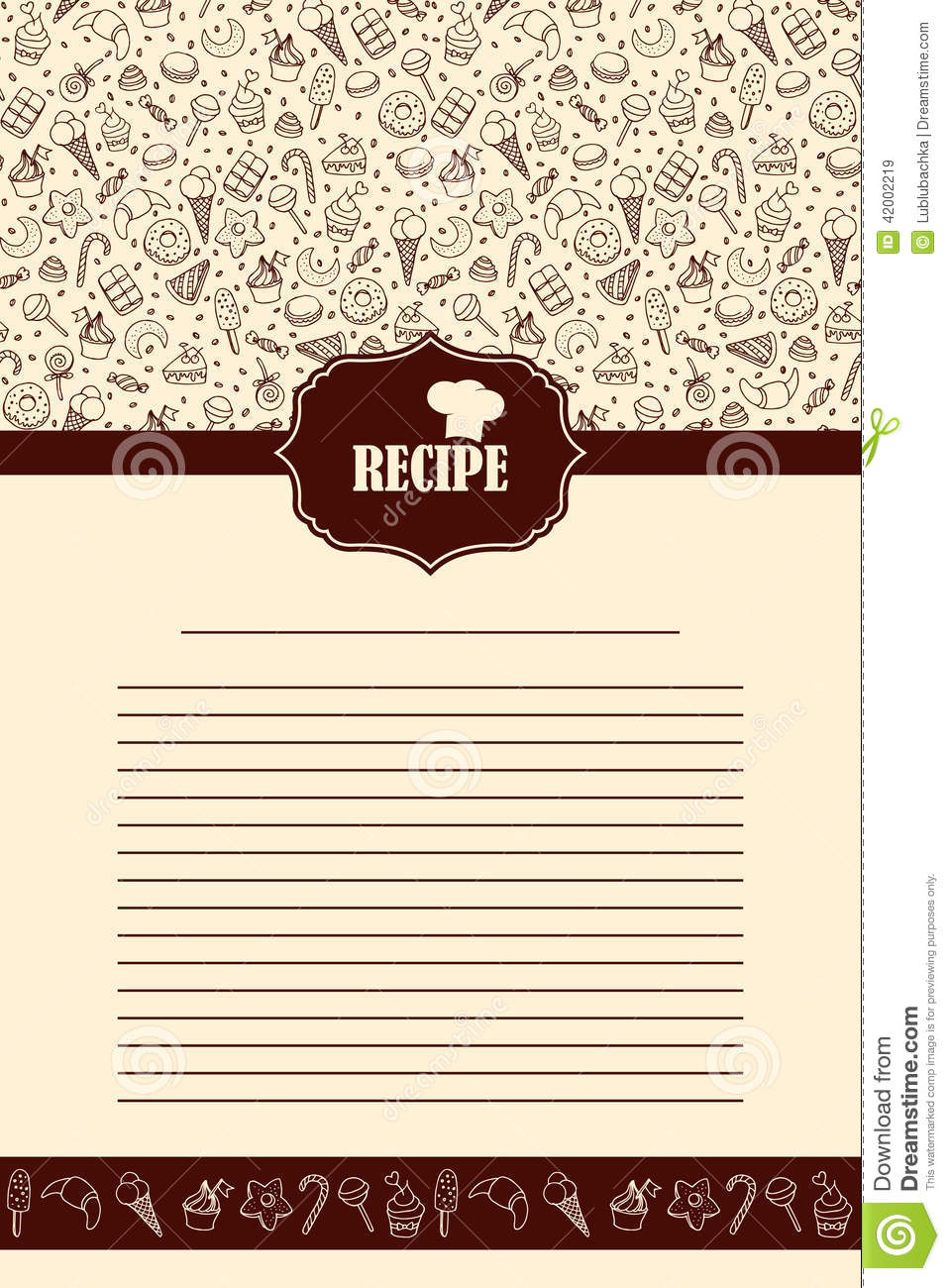Recipe Book Page With Hand Drawn Sweets Elements Stock Vector Illustration Of Decoration
