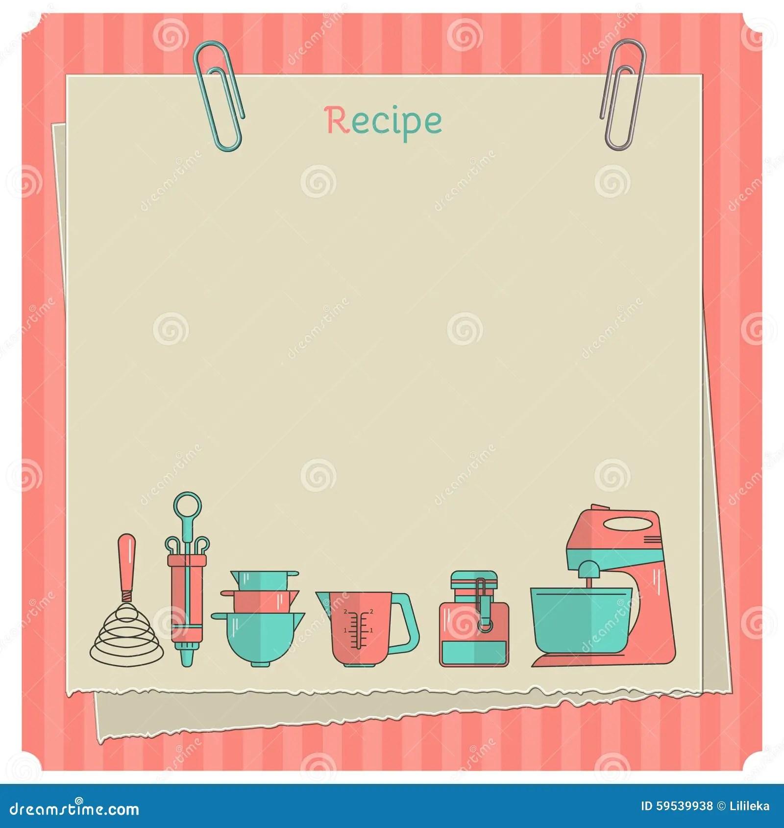 Recipe Card. Kitchen Note Template Stock Illustration