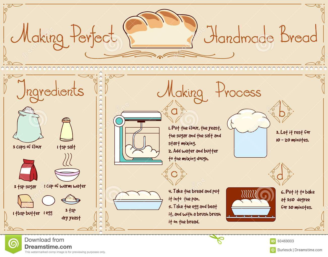 Recipe Of Homemade Bread With Ingre Nts Hand Stock