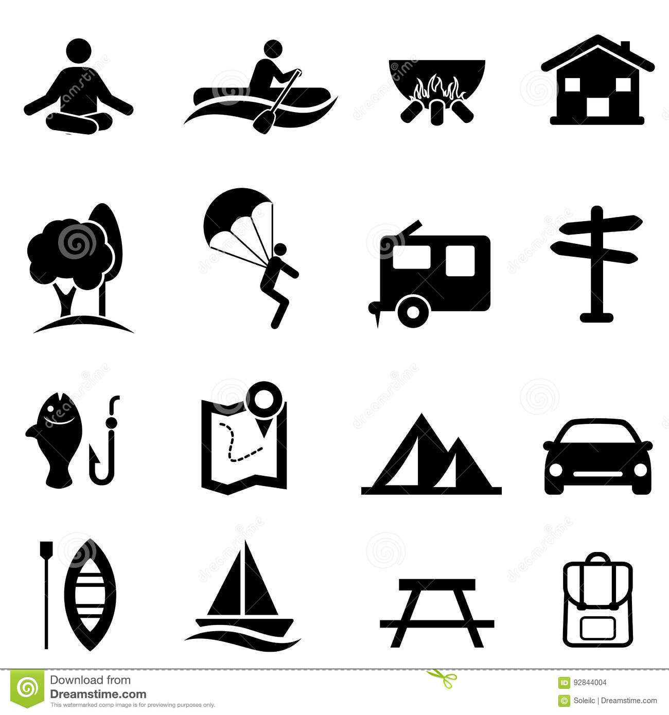 Recreation Activities And Leisure Icons Stock Vector