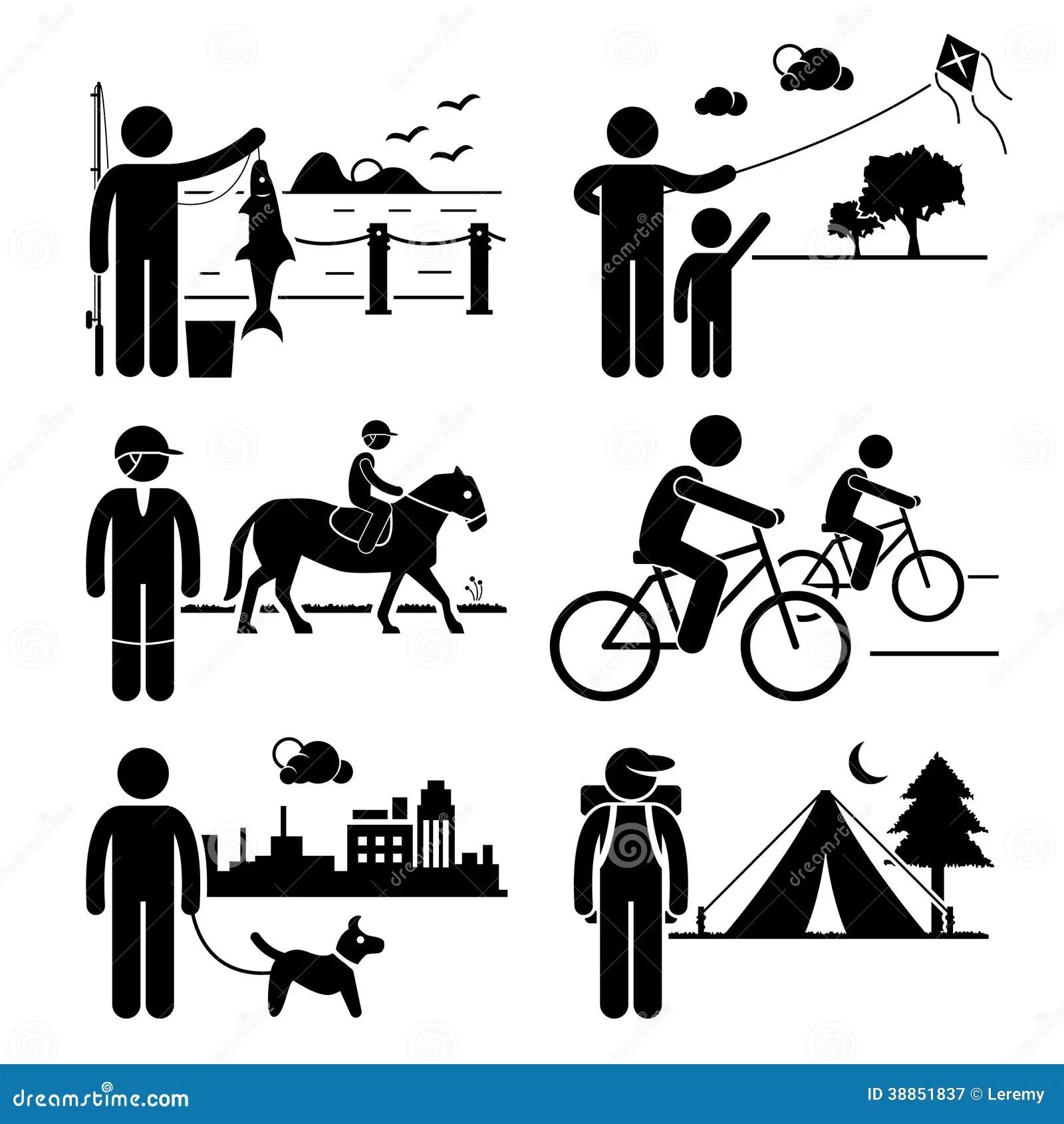 Recreational Outdoor Leisure Activities Clipart Stock Vector
