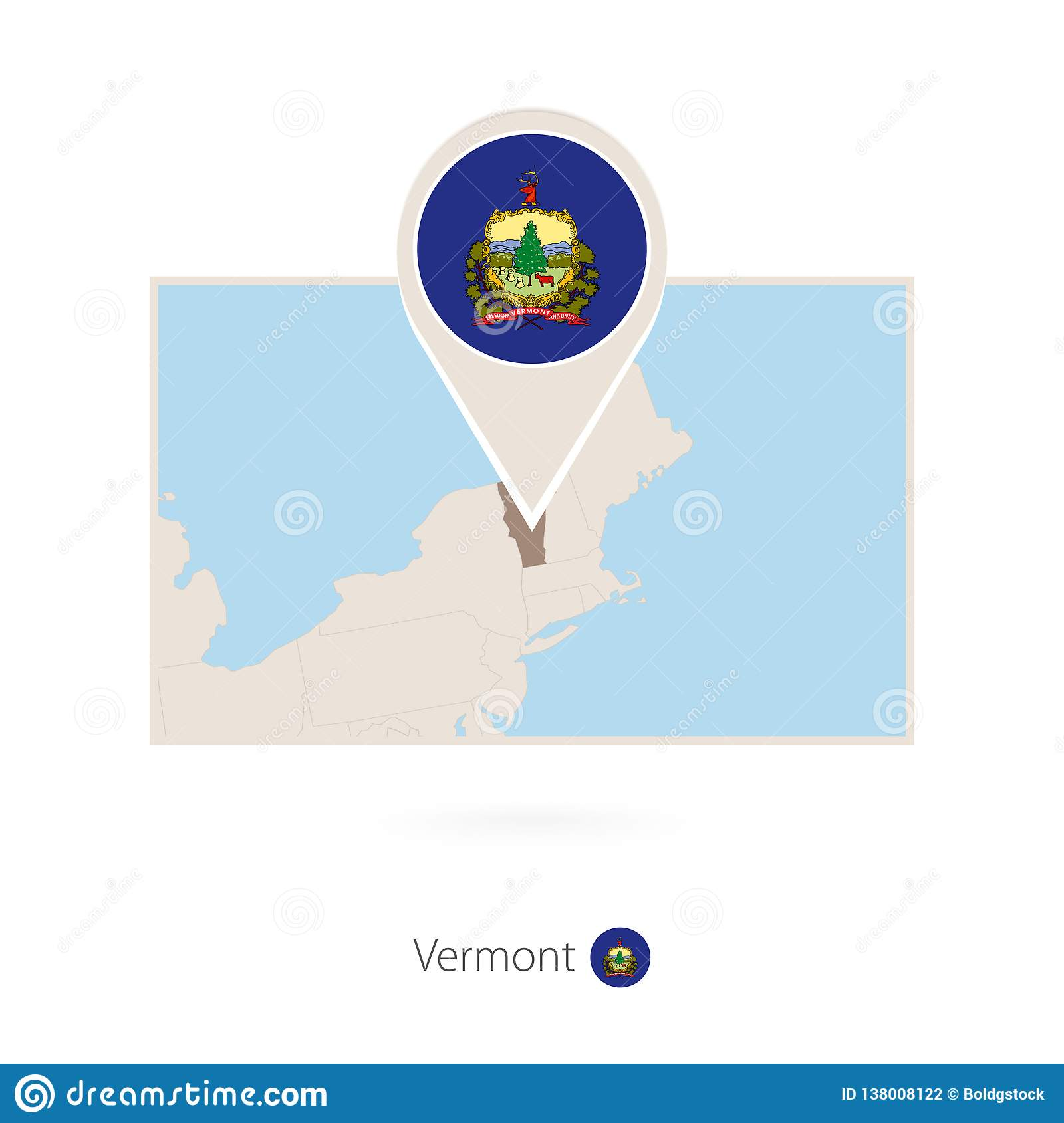The map legend is sometimes called the map key. Rectangular Map Of Us State Vermont With Pin Icon Of Vermont Stock Vector Illustration Of Rectangle Contour 138008122