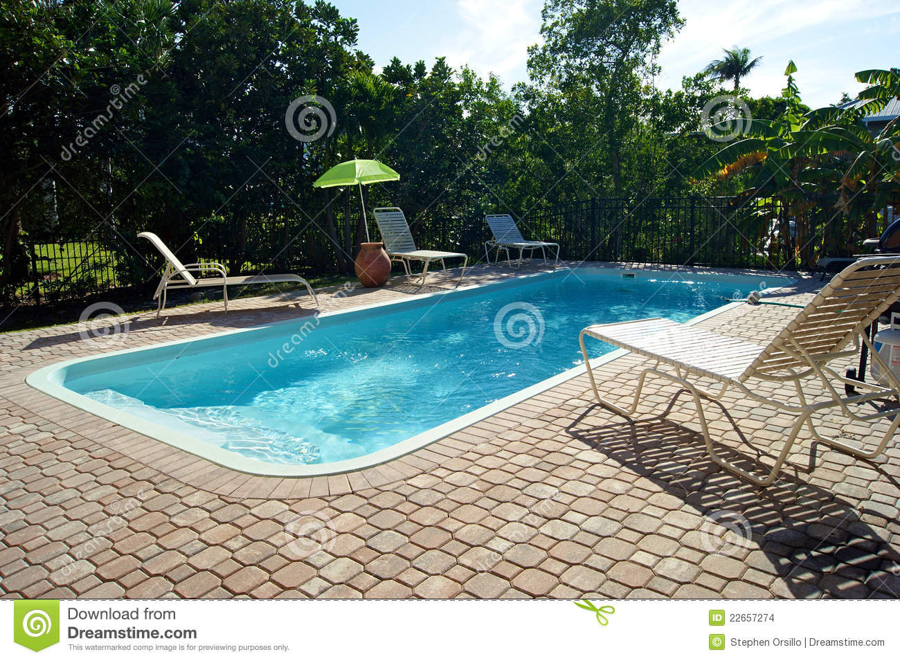 Pool Deck Chairs Rectangular Swimming Pool With Deck Chairs Stock Photo