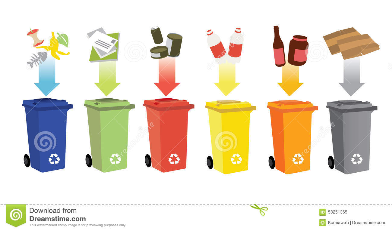 Recycling Bins And Waste Management Stock Vector