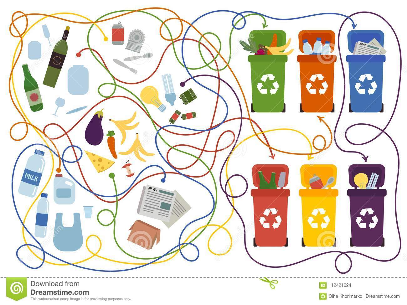 Recycling Maze For Kids With A Solution Stock Vector