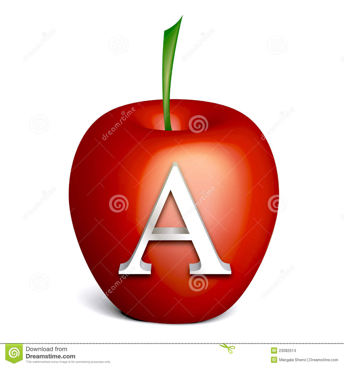 Red Apple With Alphabet A Stock Images