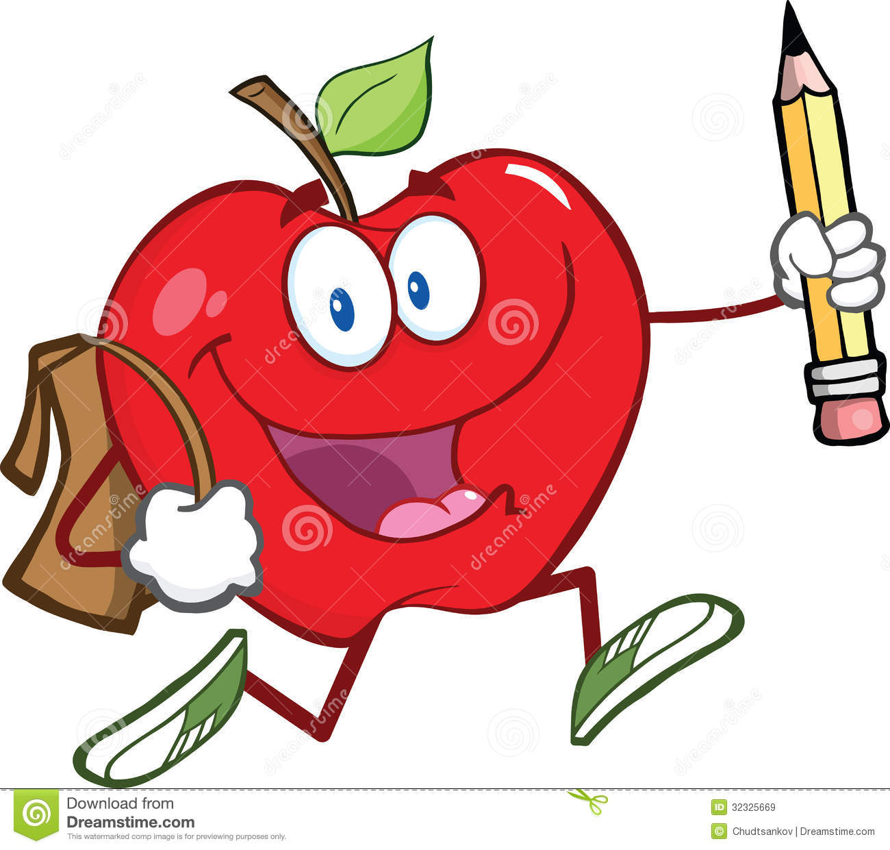 Red Apple Character With School Bag And Pencil Goe Royalty