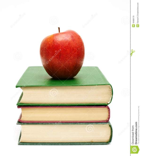 Red Apple Stack Of Books Royalty Free Stock