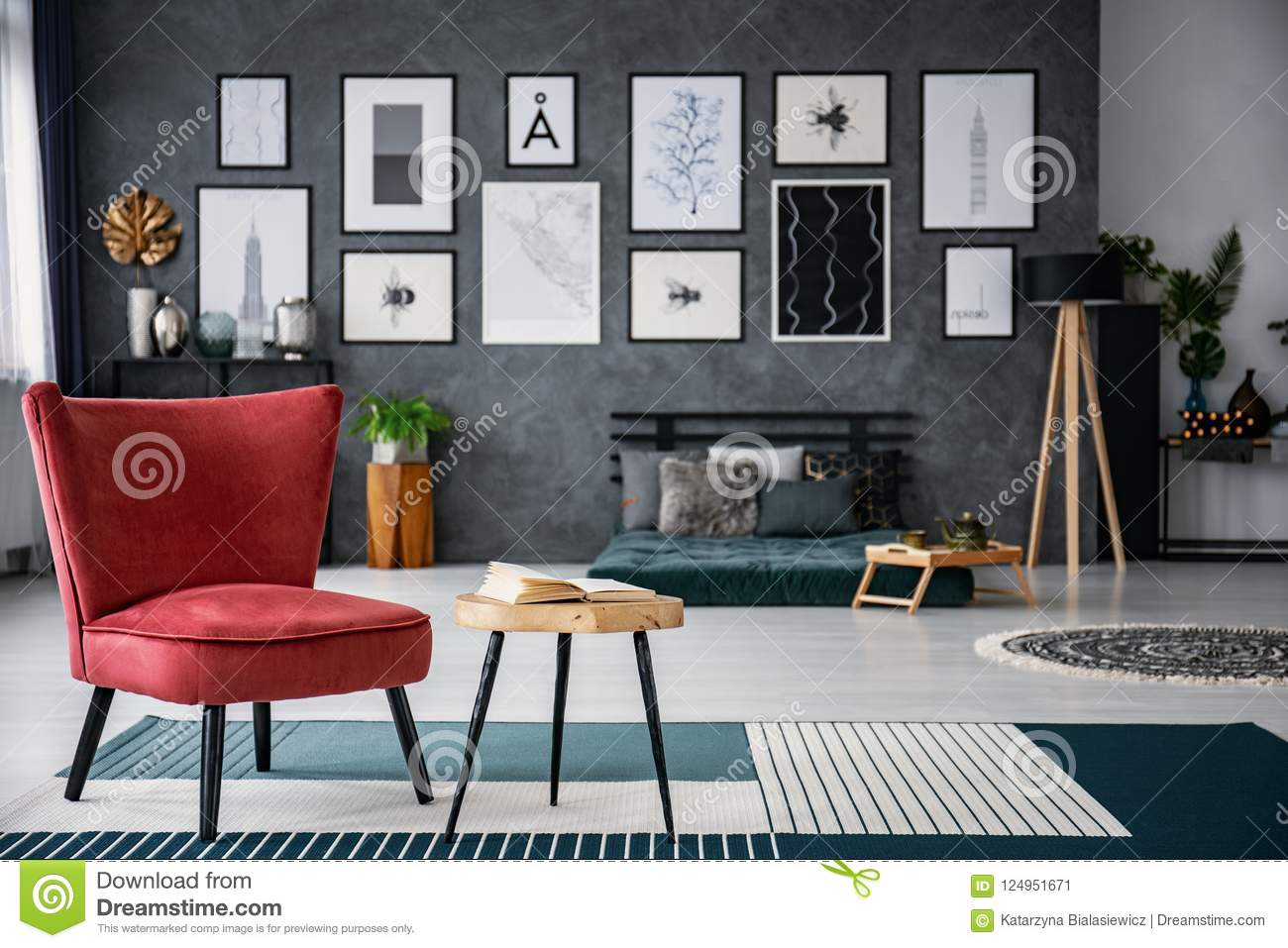 dark grey living room carpet photography red armchair next to table on in interior with gallery