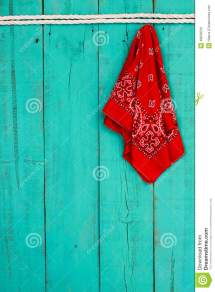 Red Bandana Hanging Rope Border Antique Blue Wooden