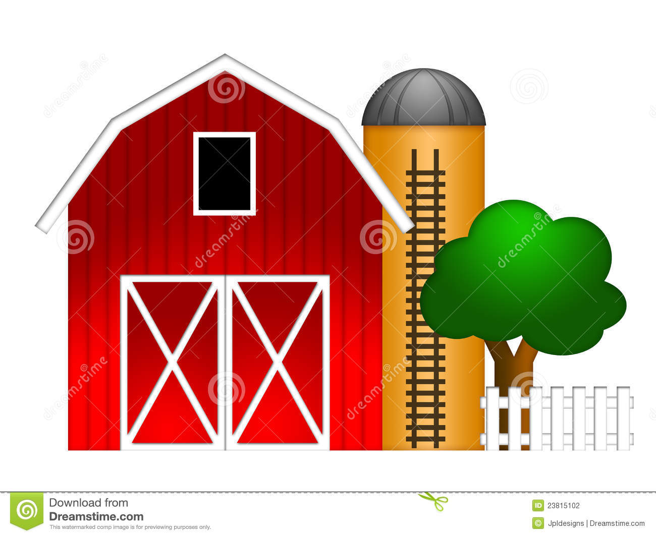 Red Barn With Grain Silo Illustration Stock Illustration