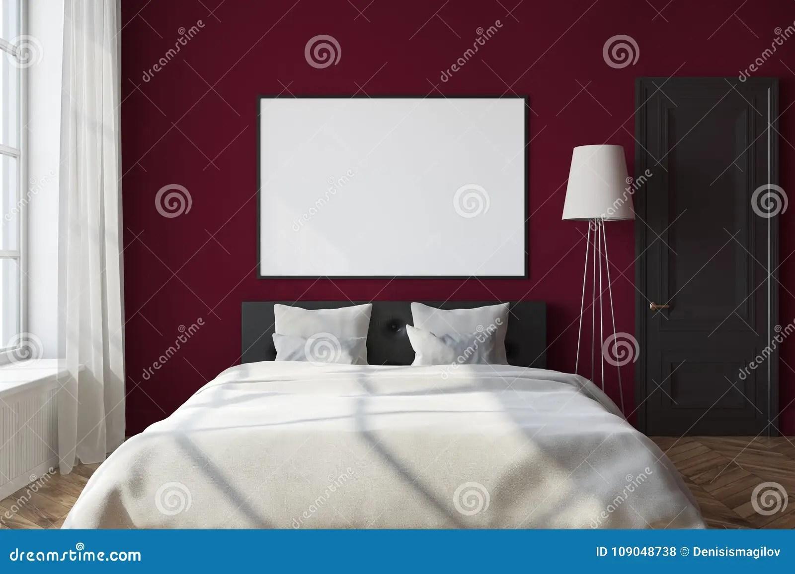 red bedroom interior framed