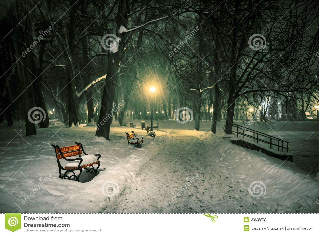 Free Download Of Christmas Wallpaper With Snow Falling Red Bench In The Park Royalty Free Stock Photography