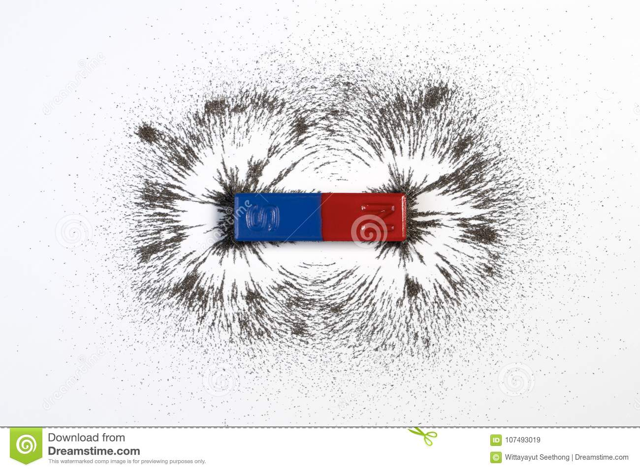 Red And Blue Bar Magnet Or Physics Magnetic With Iron