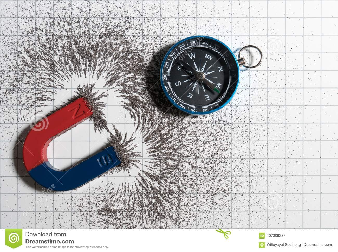 Red And Blue Horseshoe Magnet Or Physics Magnetic And